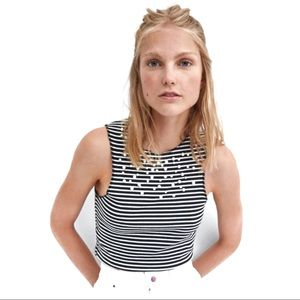 Zara Black & White Striped Crop Top with Pearls